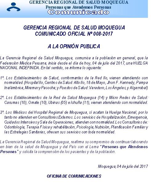 GERESA MOQUEGUA COMUNICADO OFICIAL Nº 008-2017 A LA OPINIÓN PUBLICA.